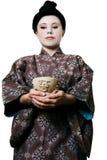 Ciotola asiatica della giada della donna Immagini Stock Libere da Diritti