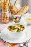 Ciotola bianca con la minestra di pollo casalinga fresca immagine stock