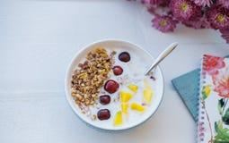 Ciotola blu di Granola casalingo al forno con yogurt e berrie fresco immagini stock libere da diritti