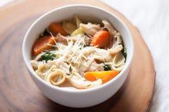 Ciotola calorosa di minestra degli spinaci e del pollo Immagini Stock