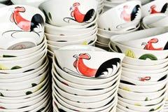 Ciotola ceramica del gallo Fotografia Stock