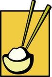 Ciotola cinese di riso e di bacchette Fotografia Stock