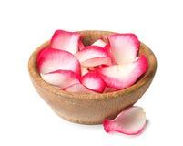 Ciotola con i petali rosa su bianco fotografie stock