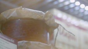 Ciotola con il caviale rosso stock footage