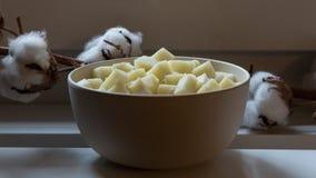 Ciotola con il formaggio di capra Pecorino Fotografia Stock