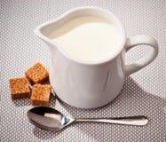ciotola con latte Immagine Stock