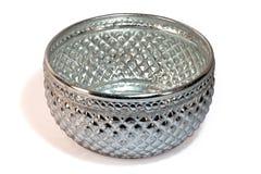 Ciotola d'argento isolata su fondo bianco Fotografie Stock
