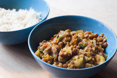 Ciotola del curry delle lenticchie Fotografia Stock