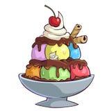Ciotola del gelato del fumetto Immagini Stock Libere da Diritti