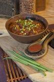 Ciotola del peperoncino rosso con gli ingredienti Fotografie Stock