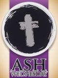 Ciotola delle ceneri con una stampa trasversale Ash Wednesday Celebration di commemorazione, illustrazione di vettore Fotografia Stock