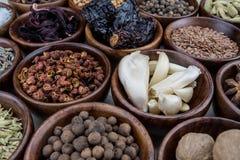 Ciotola di aglio fra le spezie Immagine Stock