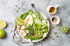 Ciotola di Buddha della disintossicazione con la quinoa, avocado, tagliatelle dello zucchini, tofu, spinaci, micro verdi, pepitas immagine stock libera da diritti