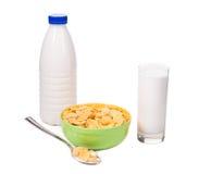 Ciotola di cereale con latte Fotografia Stock