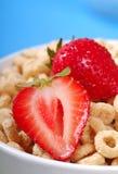 Ciotola di cereale dell'avena con le fragole Fotografie Stock