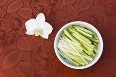 Ciotola di cipolla e di cetriolo tagliuzzati Fotografia Stock Libera da Diritti