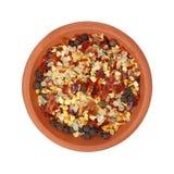 Ciotola di condimento del aglio del peperoncino rosso Immagine Stock