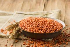 Ciotola di fondo di legno del lentilson rosso dei legumi Immagine Stock Libera da Diritti