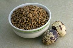 Ciotola di grano saraceno e di due uova di quaglie Fotografia Stock Libera da Diritti