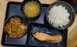 Ciotola di Gyudon di riso completata con manzo affettato immagini stock libere da diritti