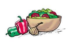 Ciotola di insalata illustrazione vettoriale