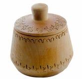 Ciotola di legno di legno vuota del contenitore del sale isolata Immagini Stock Libere da Diritti