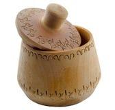 Ciotola di legno di legno vuota del contenitore del sale isolata Fotografie Stock