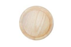 Ciotola di legno isolata su priorità bassa bianca Immagine Stock Libera da Diritti