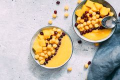 Ciotola di mango fresco sano su fondo grigio fotografia stock libera da diritti