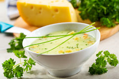 Ciotola di minestra della crema del formaggio Fotografia Stock Libera da Diritti