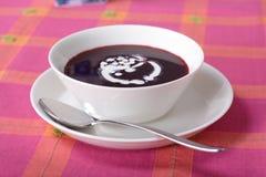 Ciotola di minestra dolce del mirtillo fotografia stock libera da diritti