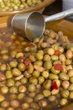 Ciotola di olive verdi Fotografia Stock Libera da Diritti