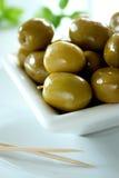 Ciotola di olive verdi 2 Fotografia Stock Libera da Diritti