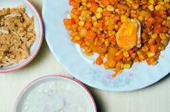 Ciotola di porridge del riso con carne di maiale o filo di seta e salte tagliuzzati della carne di maiale fotografie stock