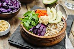 Ciotola di riso con cavolo rosso, le carote, l'avocado, la rucola ed il hummus Fotografie Stock