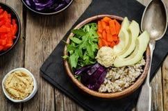 Ciotola di riso con cavolo rosso, le carote, l'avocado, la rucola ed il hummus Immagini Stock