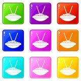 Ciotola di riso con l'insieme delle icone 9 dei bastoncini Immagine Stock