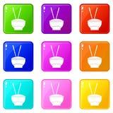 Ciotola di riso con l'insieme delle icone 9 dei bastoncini Fotografie Stock Libere da Diritti