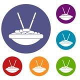 Ciotola di riso con le icone dei bastoncini messe Fotografia Stock Libera da Diritti