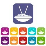 Ciotola di riso con le icone dei bastoncini messe Immagini Stock Libere da Diritti