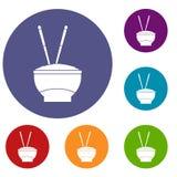 Ciotola di riso con le icone dei bastoncini messe Immagine Stock Libera da Diritti