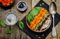 Ciotola di riso con spinaci, la zucca, i semi di zucca e il sau del mirtillo rosso Fotografie Stock Libere da Diritti