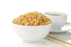 Ciotola di riso con tè Fotografie Stock
