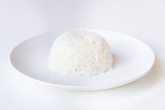 Ciotola di riso su fondo bianco Fotografia Stock