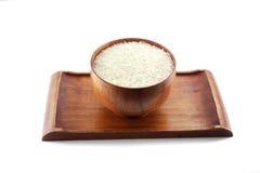 Ciotola di riso sul cassetto di legno Fotografia Stock