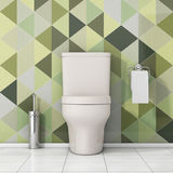 Ciotola di toilette bianca con la carta igienica e la spazzola metallica della toilette dentro Fotografia Stock Libera da Diritti