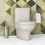 Ciotola di toilette bianca con la carta igienica e la spazzola metallica della toilette dentro Immagine Stock Libera da Diritti