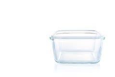 Ciotola di vetro quadrata della cucina su fondo bianco Immagini Stock Libere da Diritti