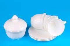 Ciotola di zucchero con le tazze Fotografia Stock