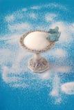 Ciotola di zucchero dell'alimentatore dell'uccello su una priorità bassa blu fotografie stock